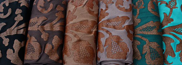 Lace print for trouser socks and velvet gloves in copper