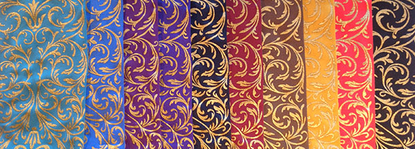 Faberge print for trouser socks and velvet gloves in gold