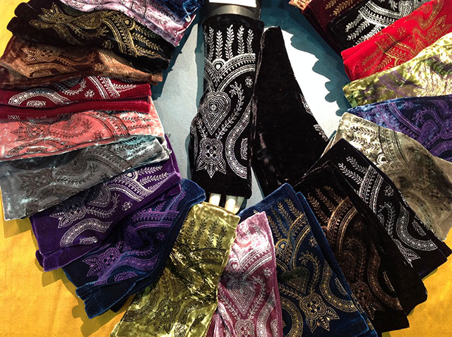 Fingerless gloves in a variety of colors and prints