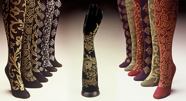 Polonova hand printed trouser socks and velvet gloves