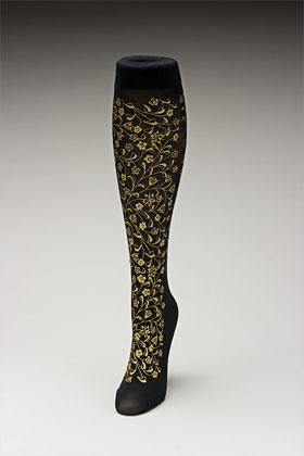 Trouser socks in BlkGold_FLOWERS