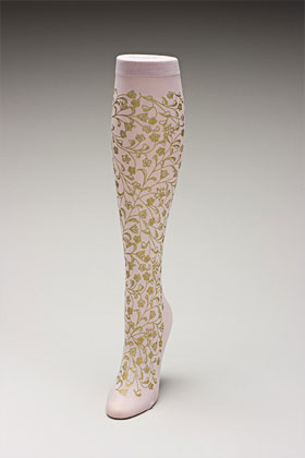 Trouser socks in PinkGold_FLOWERS