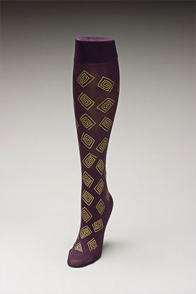 Trouser socks in PurpGold_SQUARES