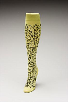 Trouser socks in SpGreenBlk_FLOWERS