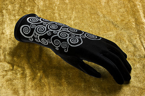 Lace gloves with silver print with black background