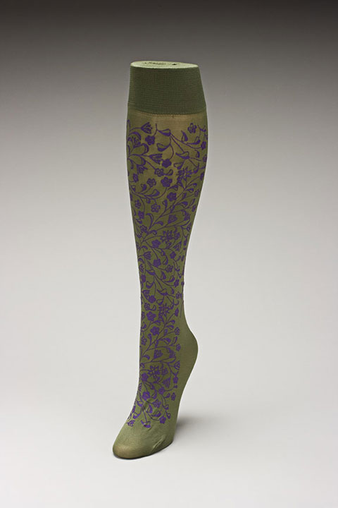Trouser socks in Olivepurp_FLOWERS