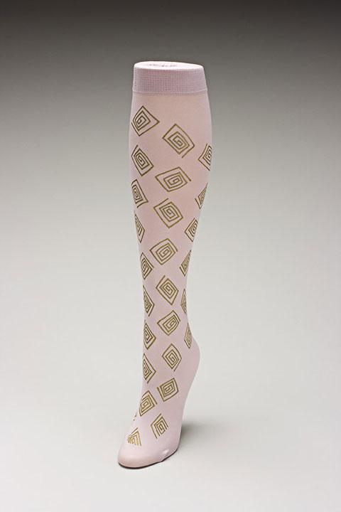 Trouser socks in PinkGold_SQUARES