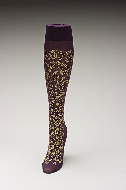 Trouser socks in PurpGold_FLOWERS