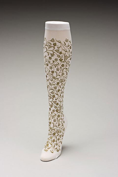 Trouser socks in WhGold_FLOWERS